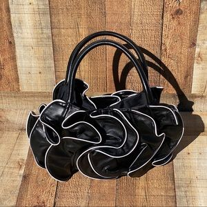 Sondra Roberts Black and white Ruffle Bag